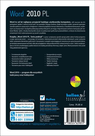 Tył okładki książki/ebooka Word 2010 PL. Seria praktyk