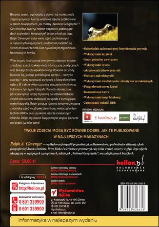 Tył okładki książki/ebooka Bezkrwawe łowy. Fotografia przyrodnicza okiem Ralpha Clevengera