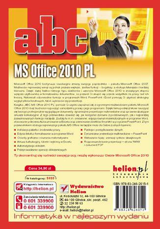 Tył okładki książki/ebooka ABC MS Office 2010 PL