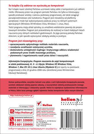 Tył okładki książki Informatyka Europejczyka. Program nauczania do zajęć komputerowych w szkole podstawowej, kl. 4 - 6. Edycja Windows XP, Windows Vista, Windows 7, Mac OS 10.5, Linux Ubuntu. (Wydanie II)
