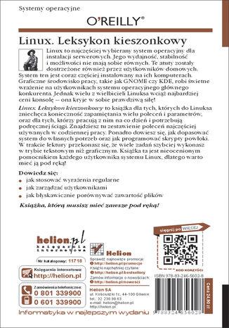 Tył okładki książki Linux. Leksykon kieszonkowy. Wydanie II
