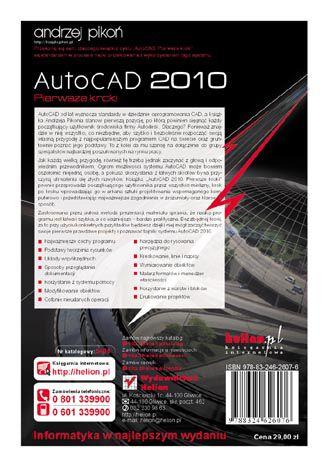Tył okładki książki/ebooka AutoCAD 2010. Pierwsze kroki