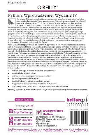 Tył okładki książki/ebooka Python. Wprowadzenie. Wydanie IV