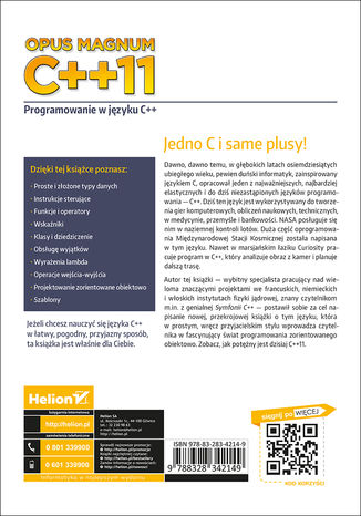Tył okładki książki/ebooka Opus magnum C++11. Programowanie w języku C++ (komplet)