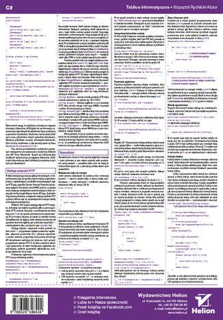 Tył okładki książki/ebooka Tablice informatyczne. C#. Wydanie III