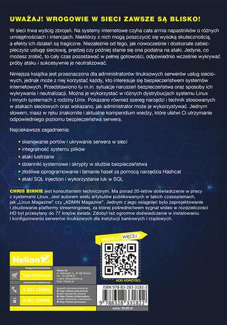 Tył okładki książki Linux Server. Bezpieczeństwo i ochrona sieci
