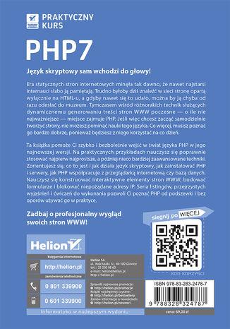 Tył okładki książki/ebooka PHP7. Praktyczny kurs