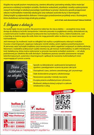 Tył okładki książki E-learning w edukacji. Jak stworzyć multimedialną i w pełni interaktywną treść dydaktyczną
