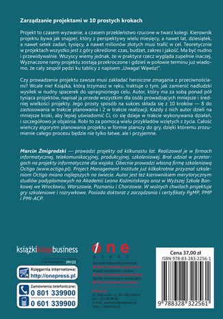 Tył okładki książki Zarządzanie projektami dla początkujących. Jak zmienić wyzwanie w proste zadanie