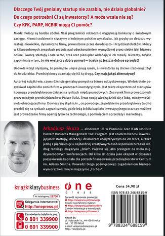 Tył okładki książki Przedsiębiorczość zorganizowana. Startupy, inwestorzy, pieniądze