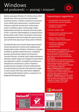 Tył okładki książki Windows od środka. Architektura systemu, procesy, wątki, zarządzanie pamięcią i dużo więcej. Wydanie VII