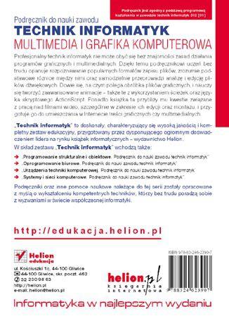 Tył okładki książki Multimedia i grafika komputerowa. Podręcznik do nauki zawodu technik informatyk