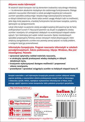 Tył okładki książki/ebooka Informatyka Europejczyka. Program nauczania informatyki w szkołach ponadgimnazjalnych. Zakres podstawowy. Edycja: Windows, Mac