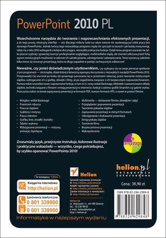 Tył okładki książki/ebooka PowerPoint 2010 PL. Seria praktyk