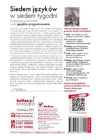 Tył okładki książki/ebooka Siedem języków w siedem tygodni. Praktyczny przewodnik nauki języków programowania