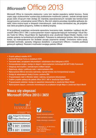 Tył okładki książki/ebooka Microsoft Office 2013. Praktyczne programowanie makr i dodatków