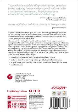 Tył okładki książki/ebooka Filozofia Kaizen. Jak mały krok może zmienić Twoje życie (wydanie ekskluzywne + CD)
