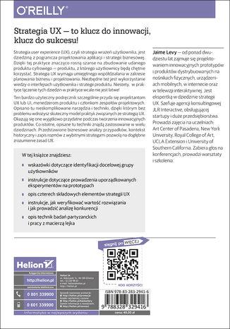 Tył okładki książki/ebooka Strategia UX. Jak tworzyć innowacyjne produkty cyfrowe, które spotkają się z uznaniem rynku