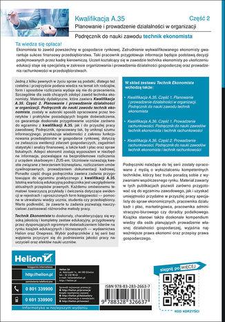 Tył okładki książki Kwalifikacja A.35. Część 2. Planowanie i prowadzenie działalności w organizacji. Podręcznik do nauki zawodu technik ekonomista