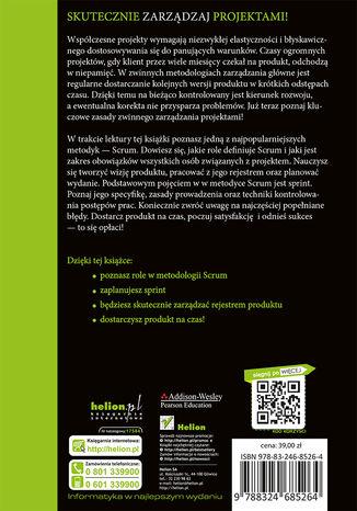 Tył okładki książki Zarządzanie projektami ze Scrum. Twórz produkty, które pokochają klienci