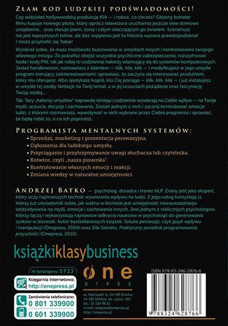 Tył okładki książki/ebooka Haker umysłów