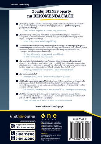 Tył okładki książki/ebooka Najbardziej znany Sekret Marketingu na świecie. Zbuduj biznes oparty na rekomendacjach (projekt b2b)