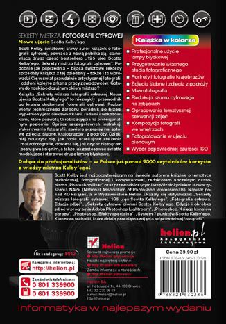 Tył okładki książki/ebooka Sekrety mistrza fotografii cyfrowej. Nowe ujęcia Scotta Kelby''ego