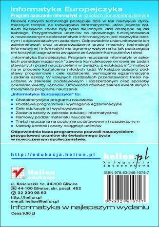 Tył okładki książki/ebooka Informatyka Europejczyka. Informatyka. Program nauczania dla szkół ponadgimnazjalnych