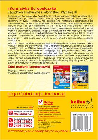 Tył okładki książki Informatyka Europejczyka. Zagadnienia maturalne z informatyki. Wydanie III