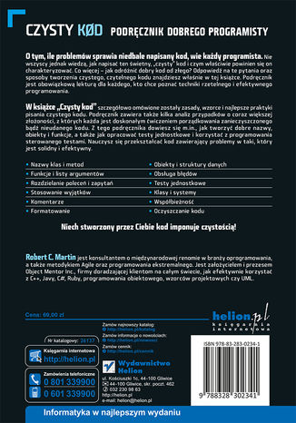 Tył okładki książki/ebooka Czysty kod. Podręcznik dobrego programisty