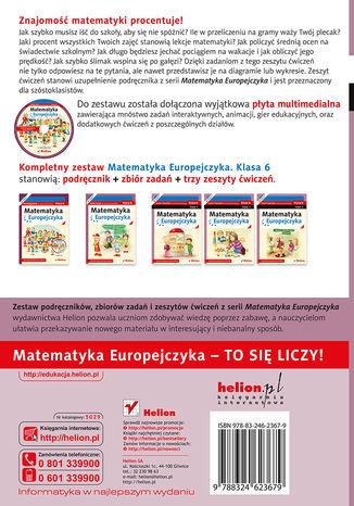 Tył okładki książki/ebooka Matematyka Europejczyka. Zeszyt ćwiczeń dla szkoły podstawowej. Klasa 6. Część 2