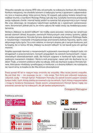 Tył okładki książki/ebooka Henryka Sytnera Wakacje na Dwóch Kółkach