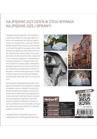 Tył okładki książki/ebooka Profesjonalna fotografia ślubna. Od perfekcyjnego warsztatu do dochodowego biznesu. Wydanie II zmienione