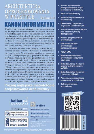 Tył okładki książki Architektura oprogramowania w praktyce. Wydanie II