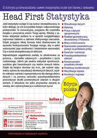 Tył okładki książki/ebooka Head First. Statystyka. Edycja polska