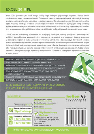 Tył okładki książki/ebooka Excel 2010 PL. Ilustrowany przewodnik