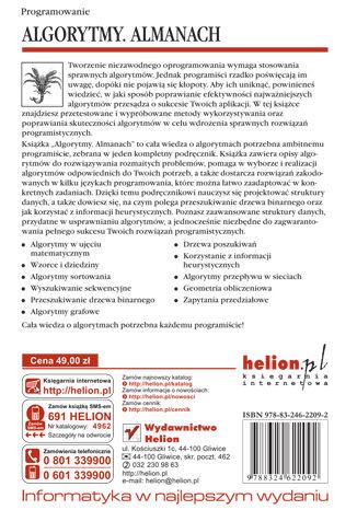 Tył okładki książki/ebooka Algorytmy. Almanach