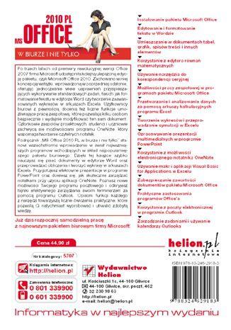 Tył okładki książki/ebooka MS Office 2010 PL w biurze i nie tylko