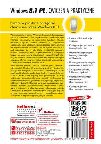 Tył okładki książki Windows 8.1 PL. Ćwiczenia praktyczne