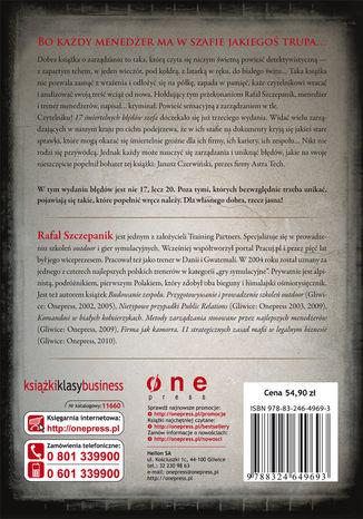 Tył okładki książki 17 śmiertelnych błędów szefa. Wydanie III rozszerzone