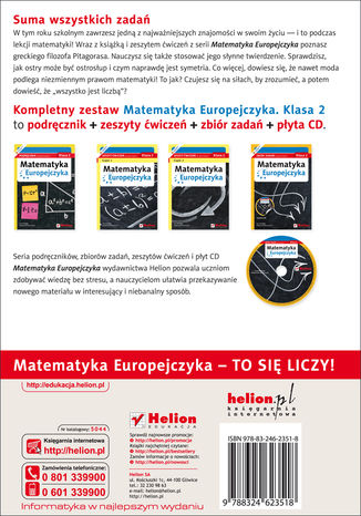 Tył okładki książki/ebooka Matematyka Europejczyka. Zeszyt ćwiczeń dla gimnazjum. Klasa 2. Część 2