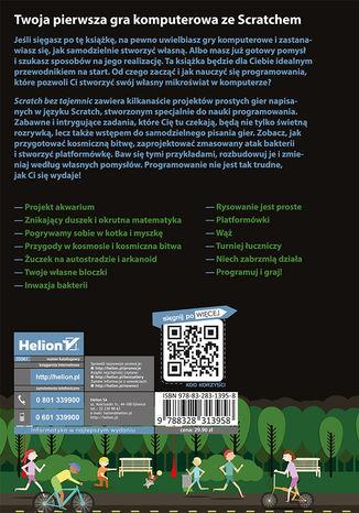 Tył okładki książki/ebooka Scratch bez tajemnic. Programowanie gier od podstaw