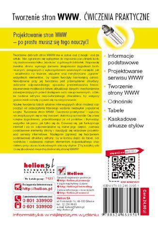 Tył okładki książki/ebooka Tworzenie stron WWW. Ćwiczenia praktyczne. Wydanie III