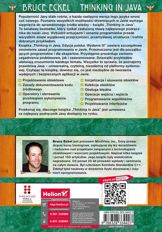 Tył okładki książki/ebooka Thinking in Java. Edycja polska. Wydanie IV