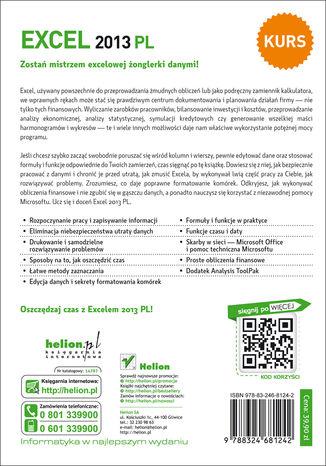 Tył okładki książki/ebooka Excel 2013 PL. Kurs