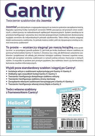 Tył okładki książki/ebooka Gantry. Tworzenie szablonów dla Joomla!