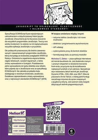 Tył okładki książki ECMAScript 6. Przewodnik po nowym standardzie języka JavaScript