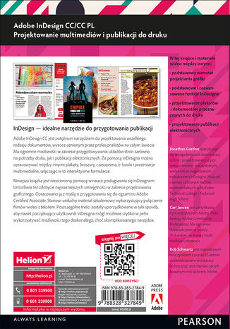 Tył okładki książki Adobe InDesign CC/CC PL. Projektowanie multimediów i publikacji do druku