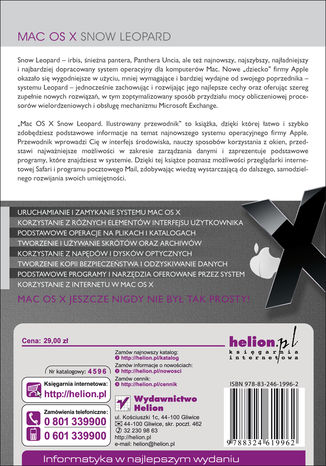 Tył okładki książki/ebooka Mac OS X Snow Leopard. Ilustrowany przewodnik