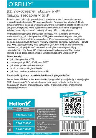Tył okładki książki/ebooka API nowoczesnej strony WWW. Usługi sieciowe w PHP